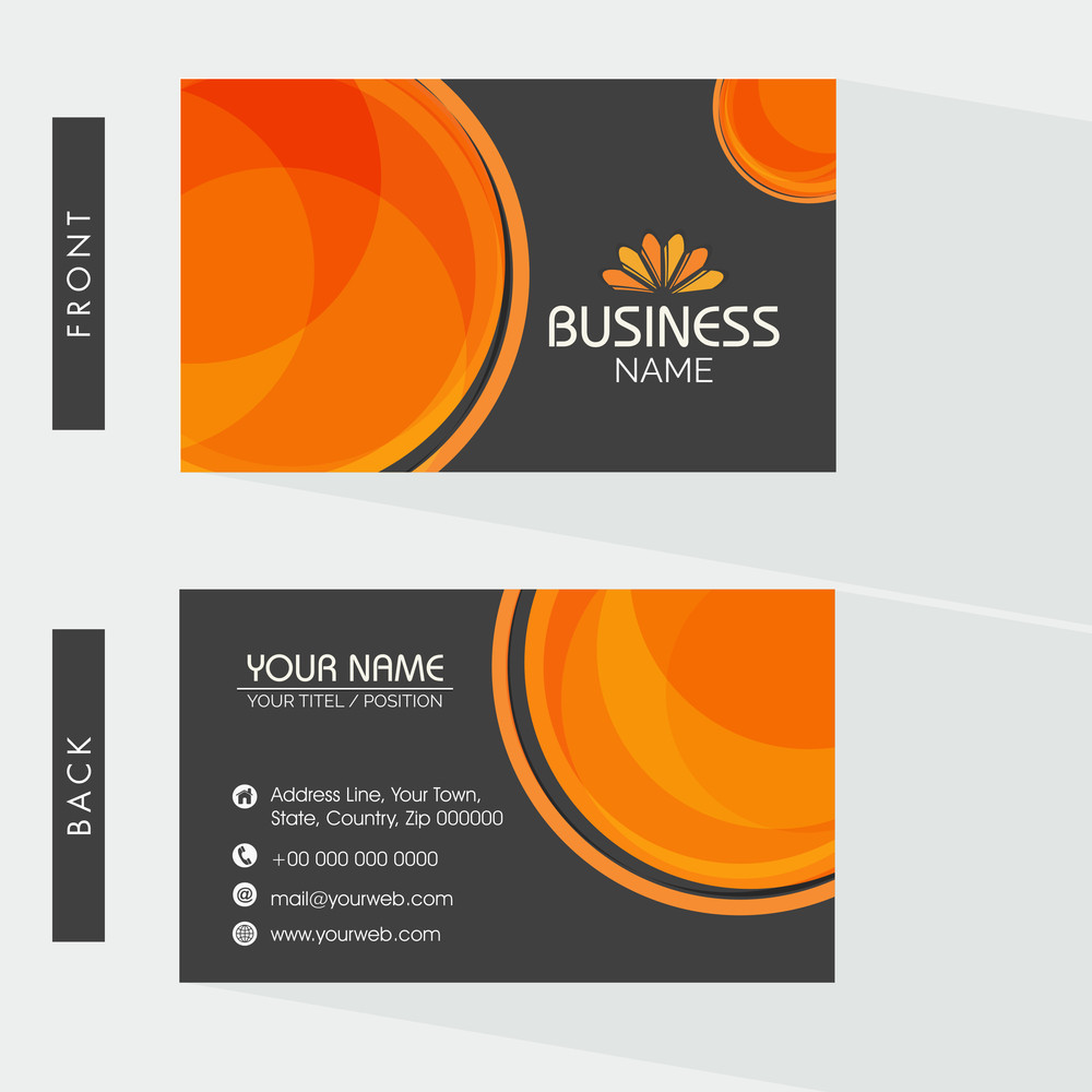 Creative two sided business card design on grey background for ...