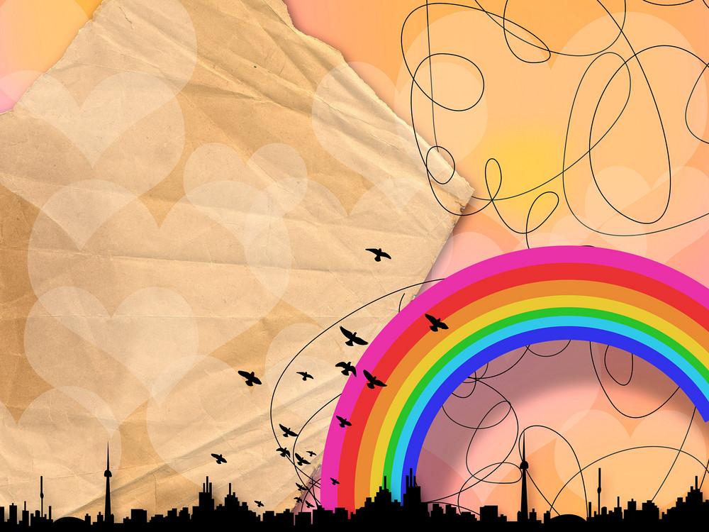 Creative Urban Background With Rainbow