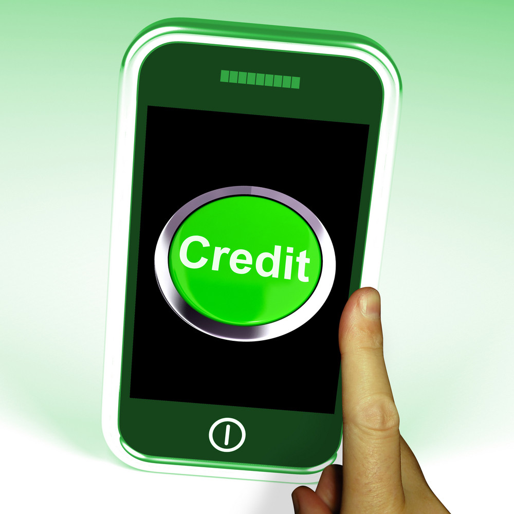Credit Button On Mobile Shows Finance Or Loan For Purchases
