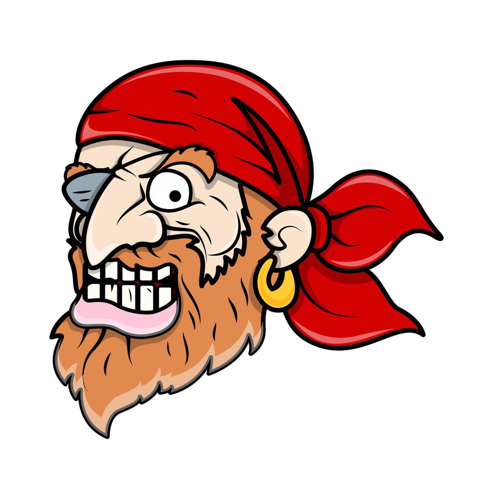 Creepy Evil Pirate Man - Vector Cartoon Illustration