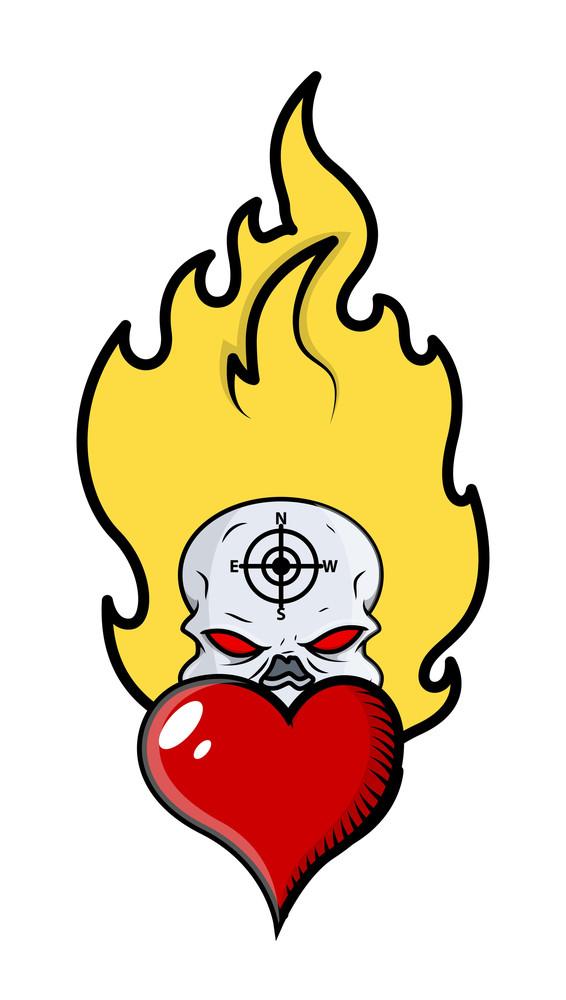 Creepy Horror Skull Tattoo With Flames And Heart - Vector Cartoon Illustration