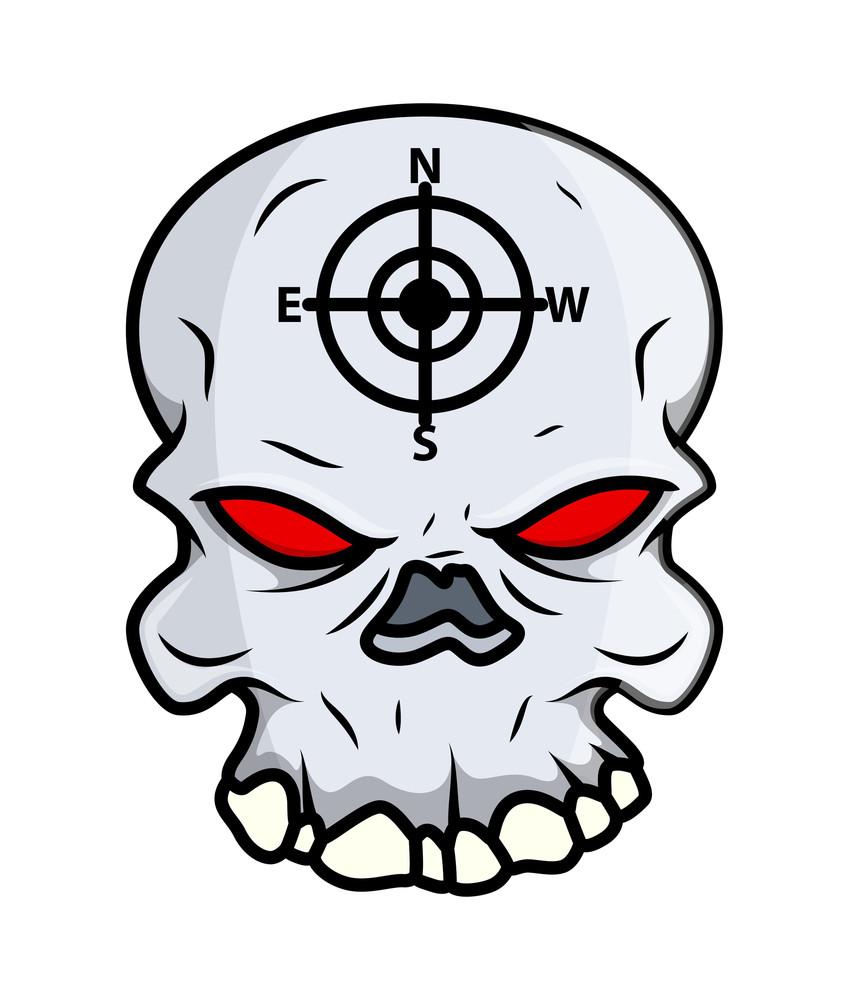 Creepy Skull Blood In Eyes - Vector Cartoon Illustration