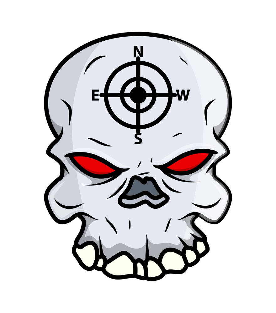 Creepy Skull - Vector Cartoon Illustration