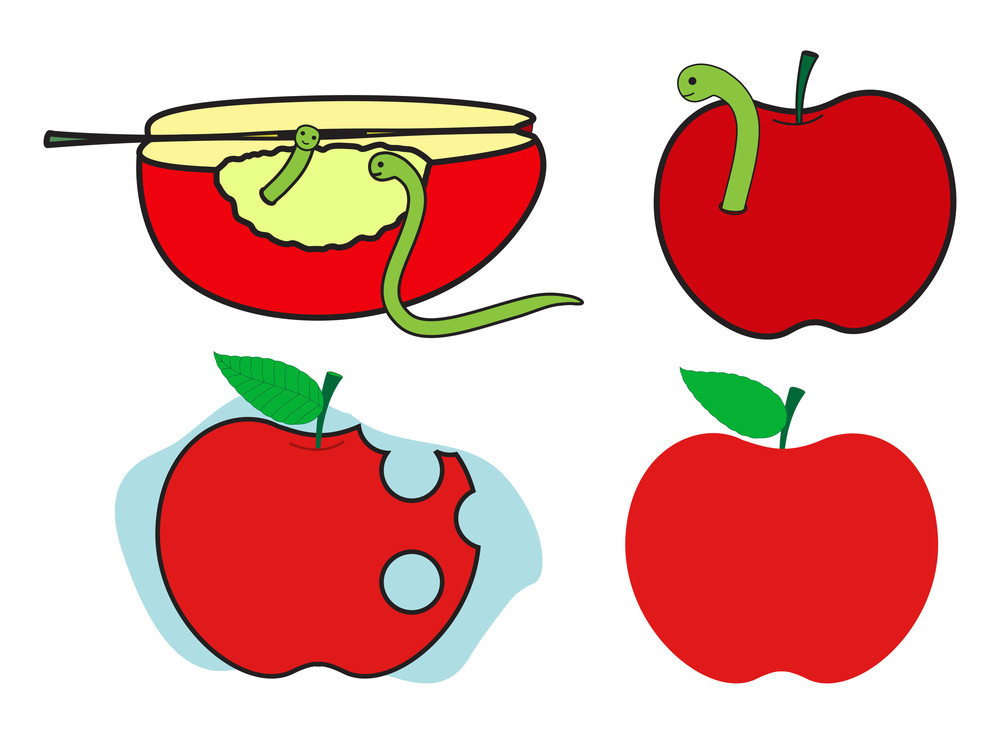 Creepy Worm With Apples Vector