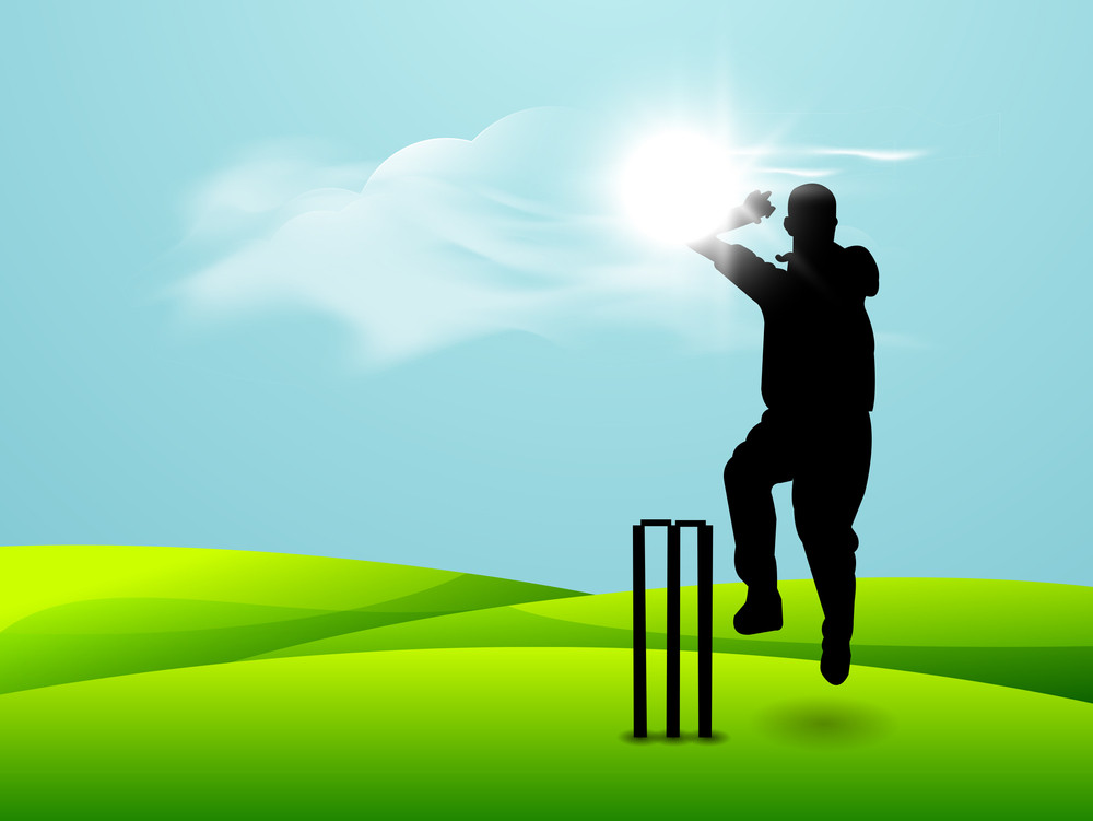 Cricket Bowler In Bowling Action On Sunny Nature Background.