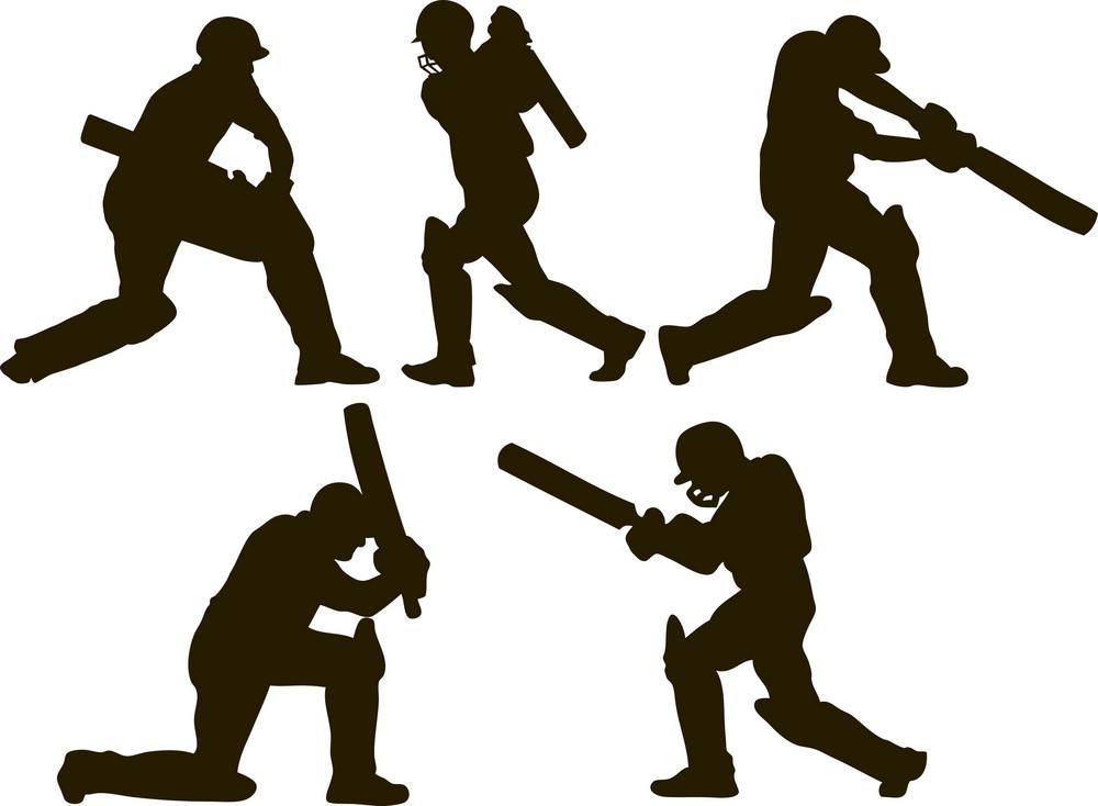 Cricket Player Batsman Batting Silhouette