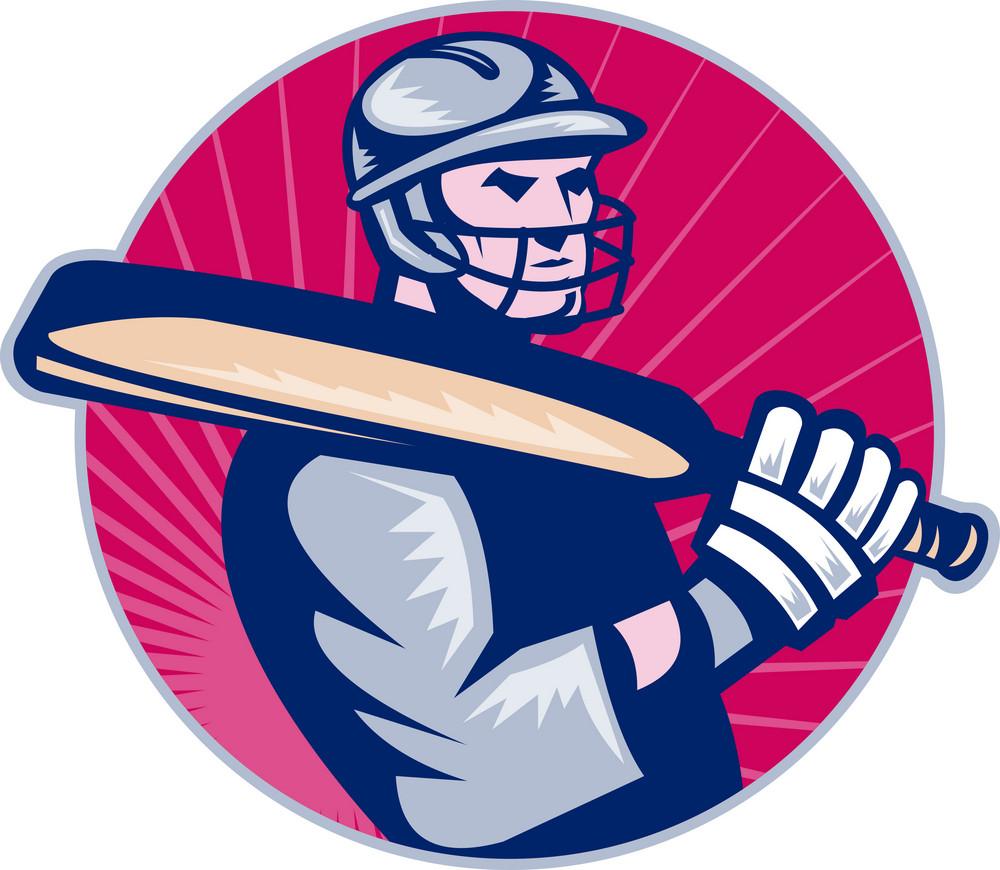 Cricket Player Batsman Holding Bat