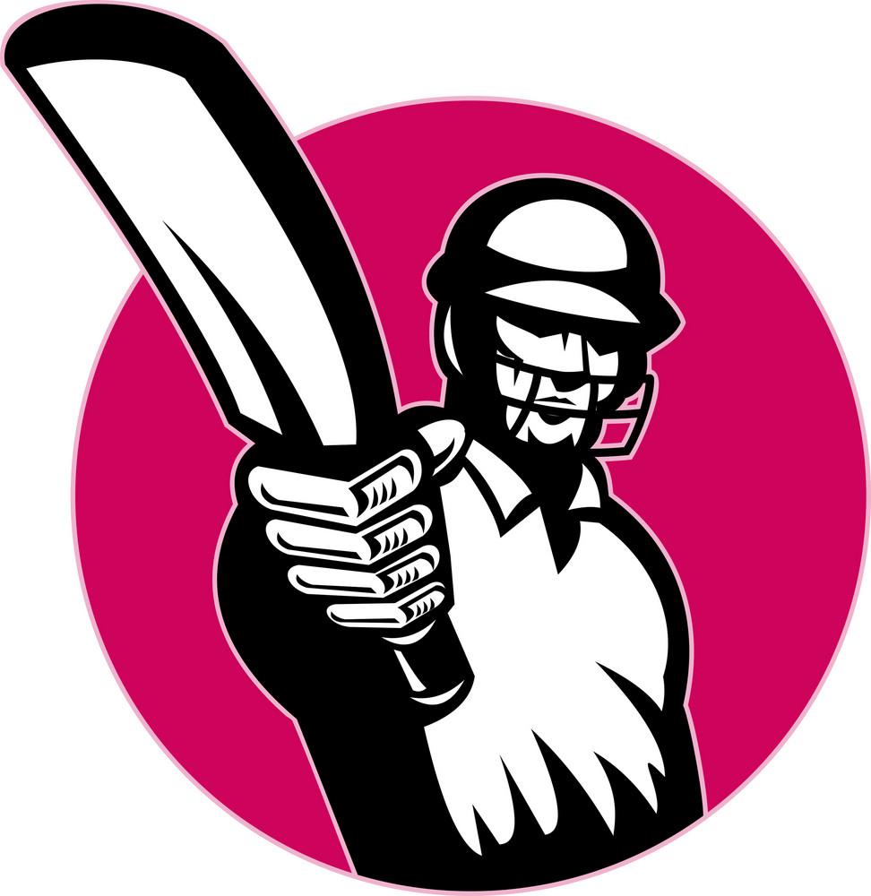 Cricket Player Batsman Pointing Bat