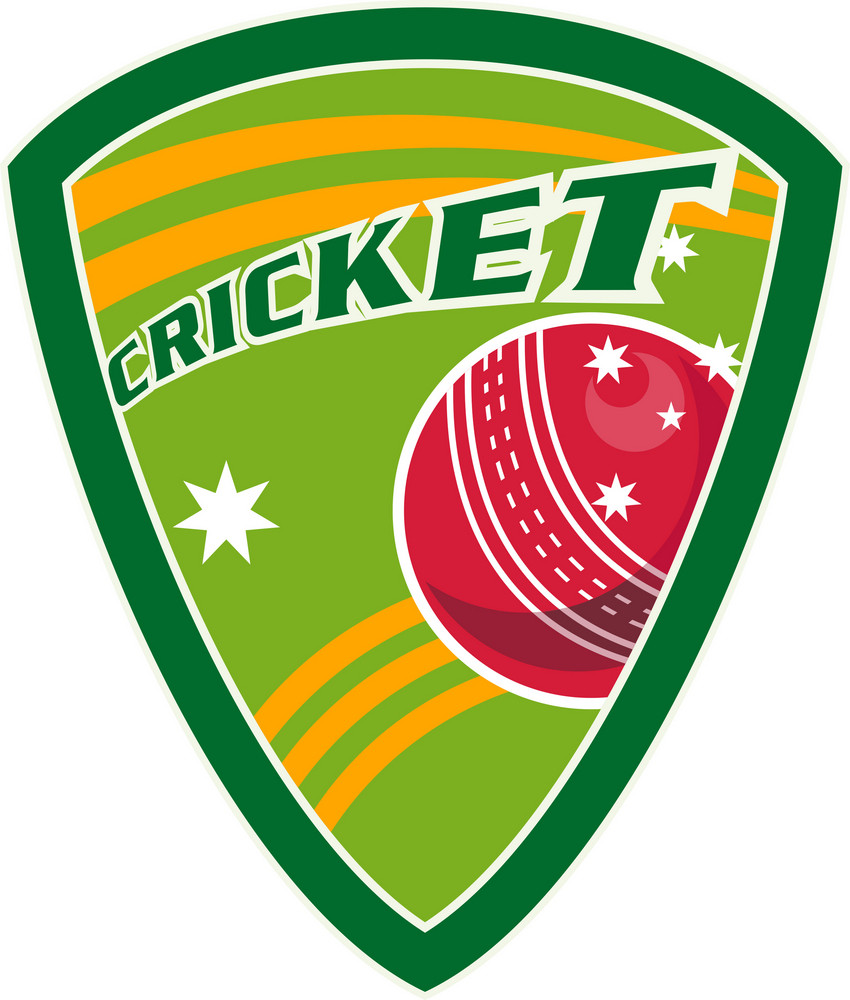 Cricket Sports Ball Shield Stars