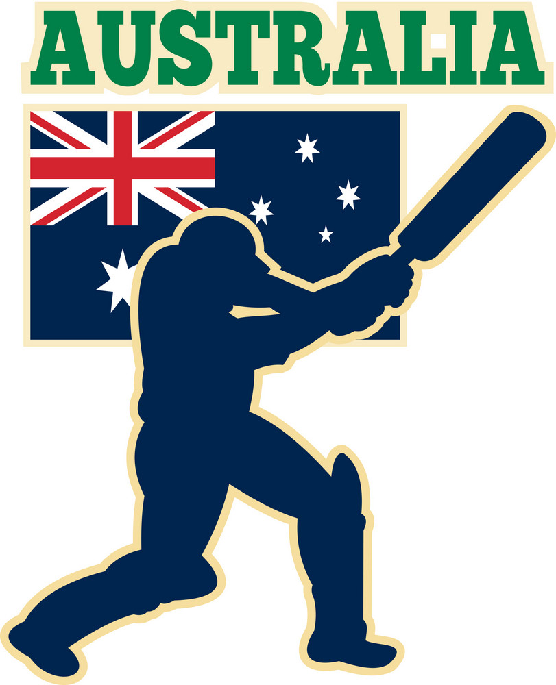 Cricket Sports Batsman Australia Flag