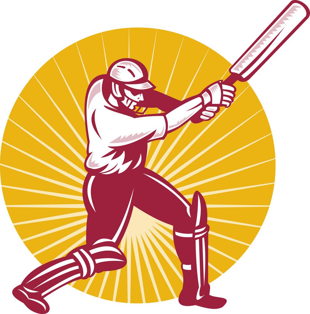 Cricket Sports Batsman Batting Side View