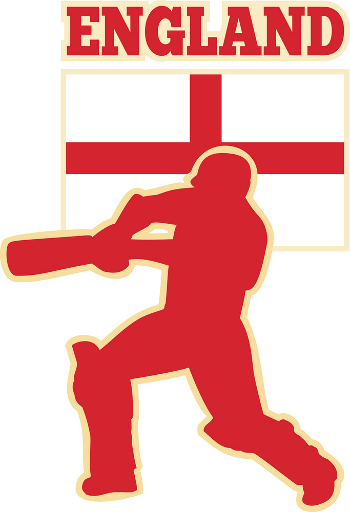 Cricket Sports Batsman England Flag