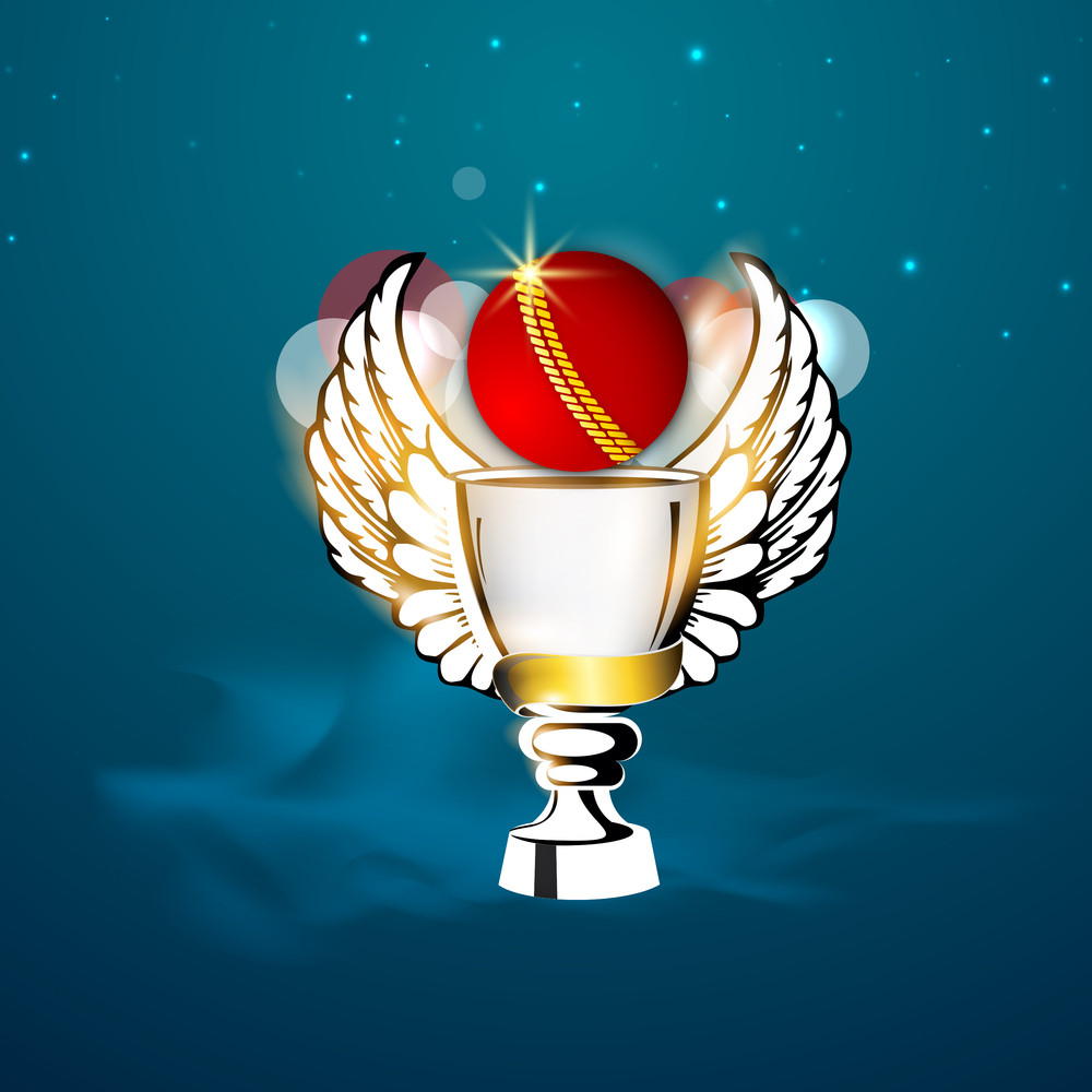 Cricket Winning Trophy With Wings And Ball On Shiny Blue Background.