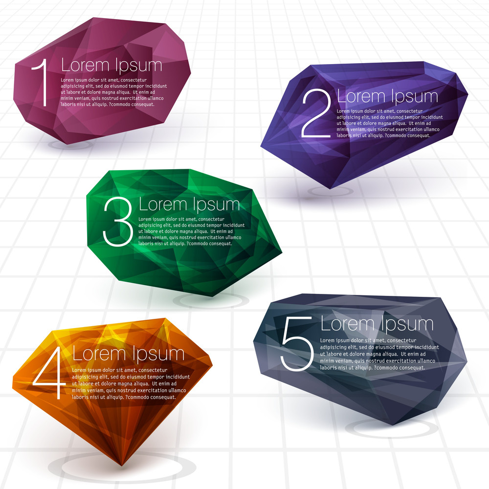 Cristal Gems Vector Design Template.