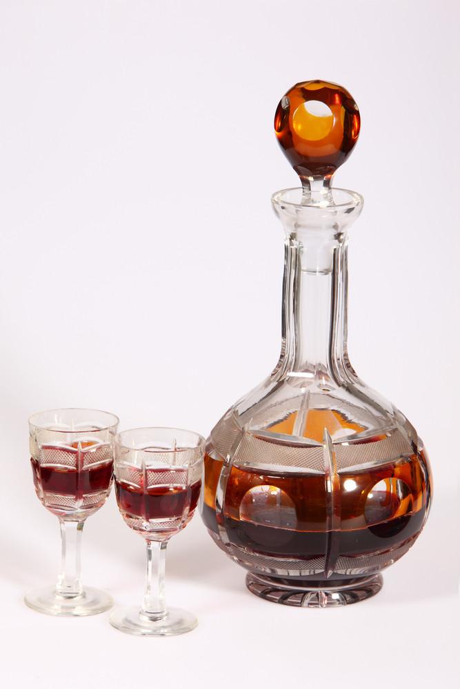 Cristal Glasses And A Carafe Of Liquor