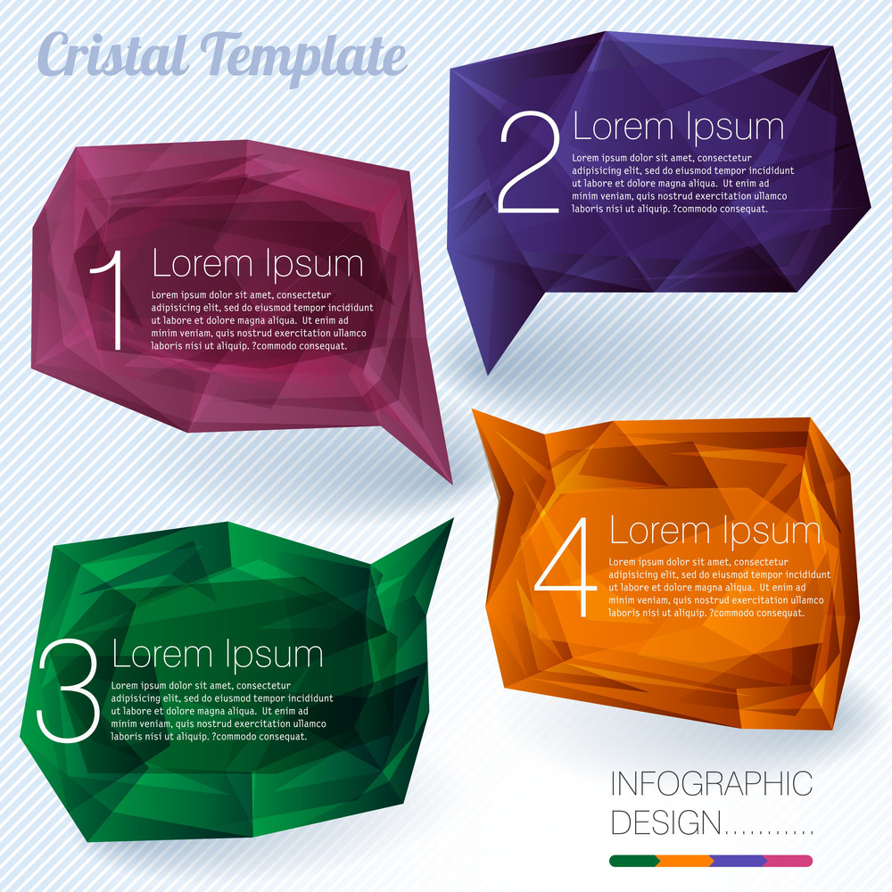Cristal Labels. Modern Style Design Elements Vector Set