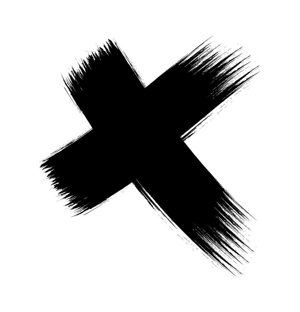 Cross Brush Strokes Grunge Vector