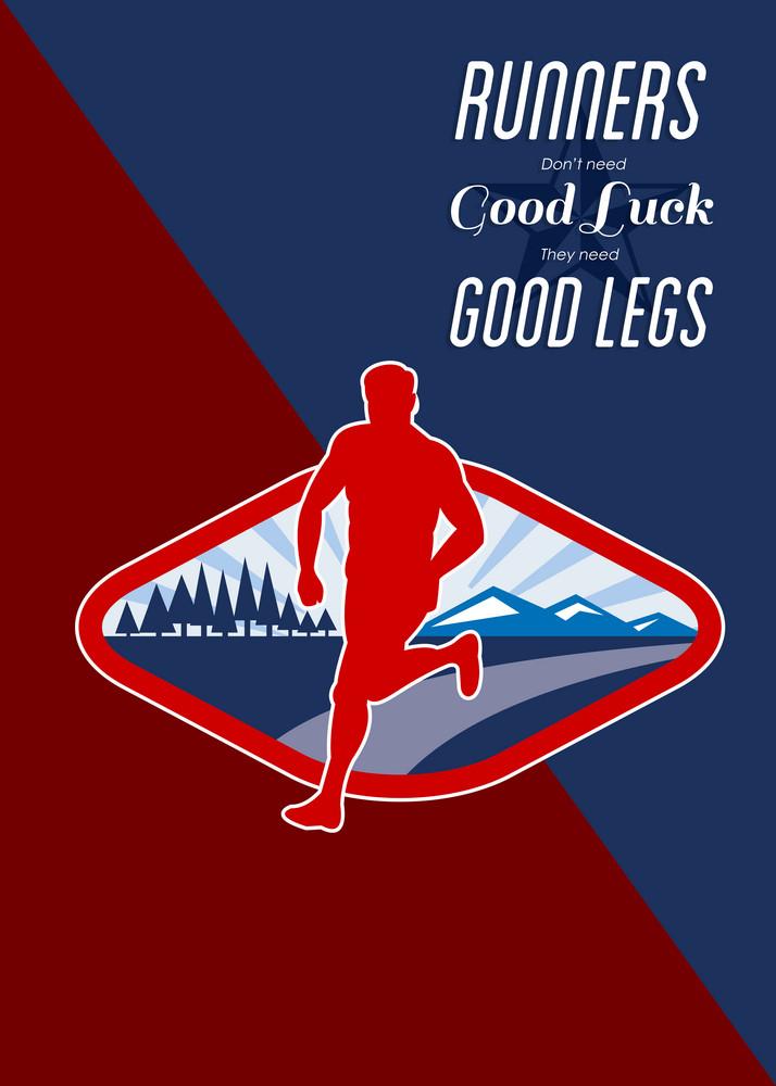 Cross Country Runner Retro Poster