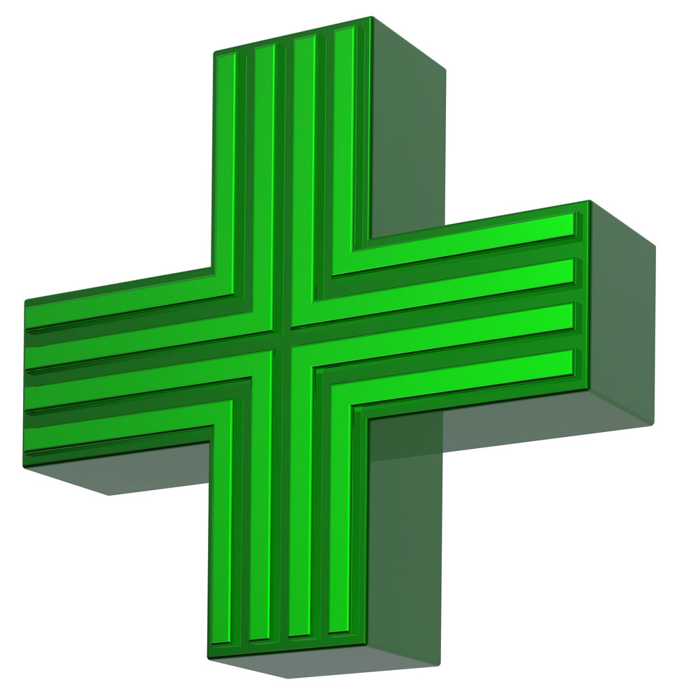 Cross In Green Isolated On White