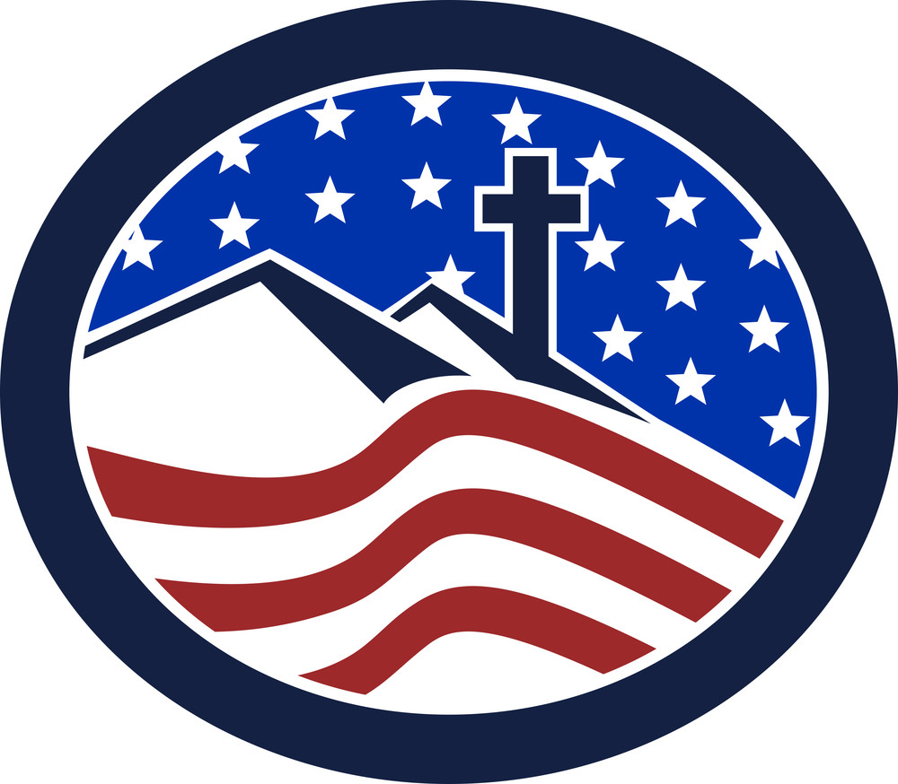 Cross On Hill American Flag Circle