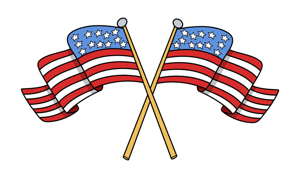 Crossed Flags Of Usa Vector