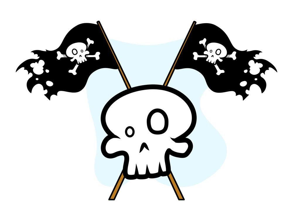 Crossed Jolly Roger Flag With Skull - Vector Cartoon Illustration
