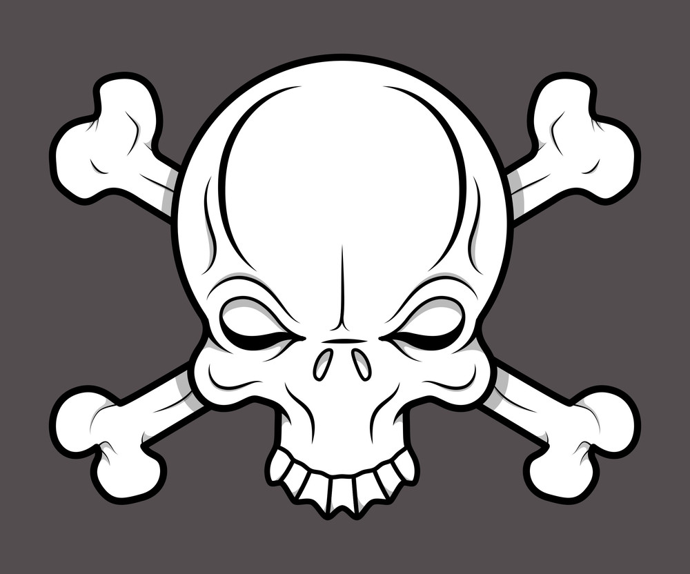 Crossed Skull Tattoo - Vector Cartoon Illustration