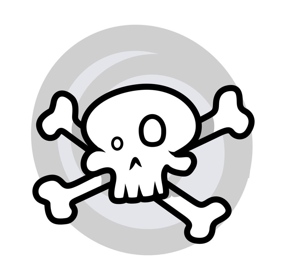 Crossed Skull - Vector Cartoon Illustration