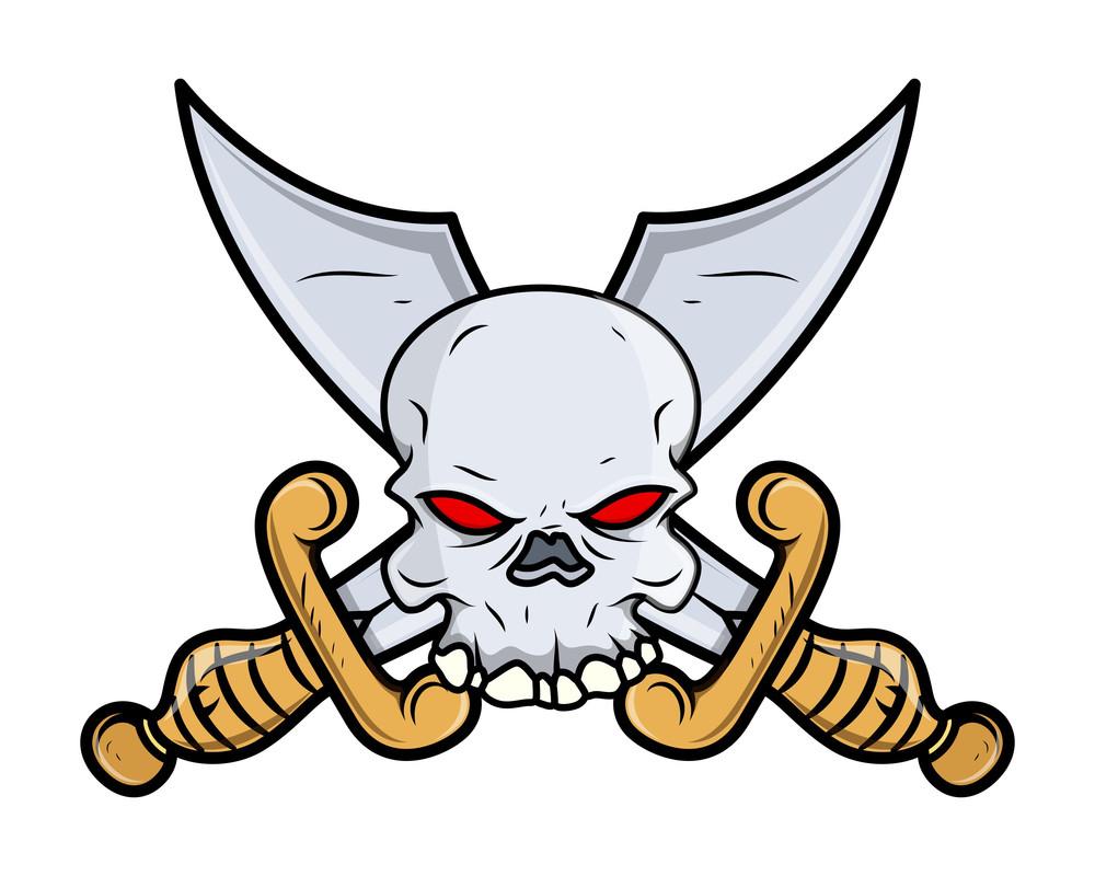 Crossed Sword Skull Tattoo - Vector Cartoon Illustration
