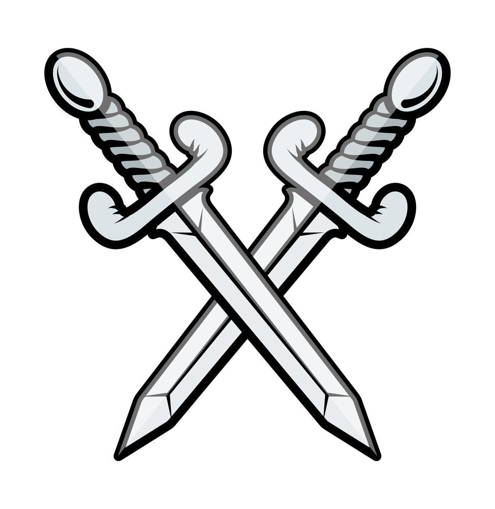 Crossed Sword Vector Illustration