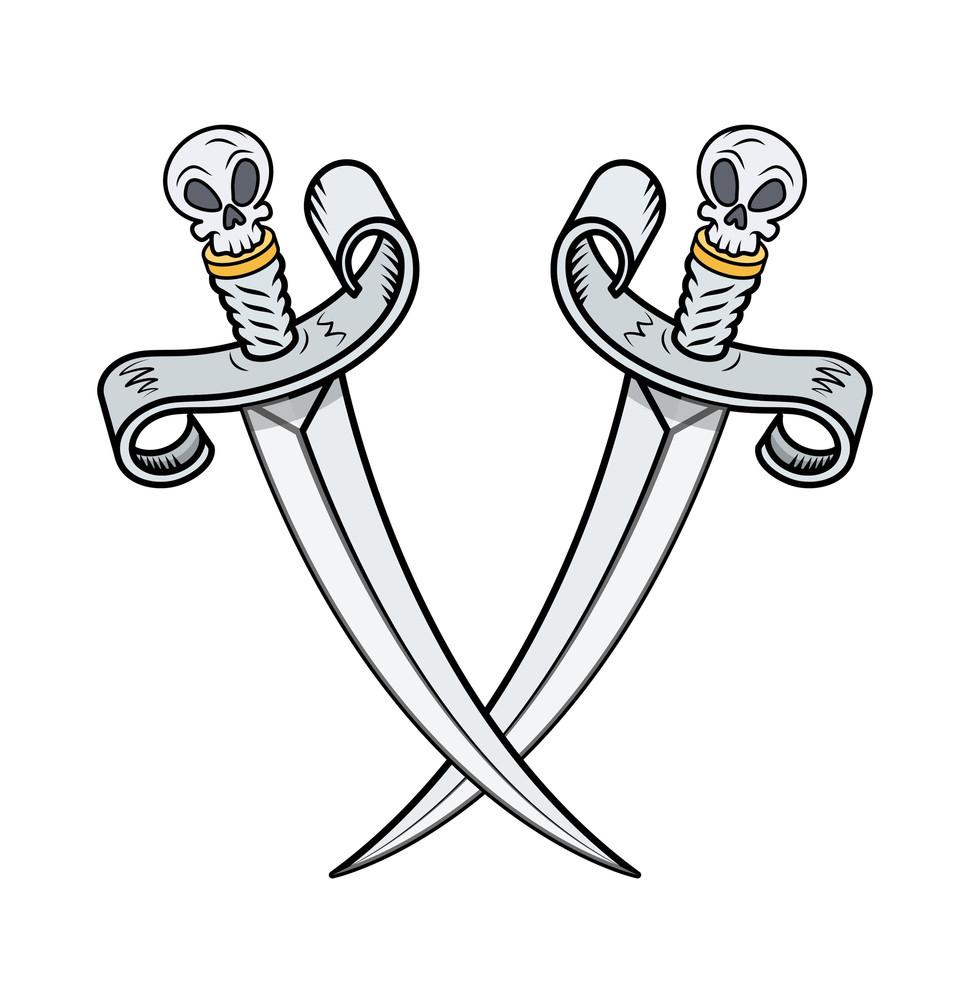 Crossed Vikings Swords - Vector Cartoon Illustration