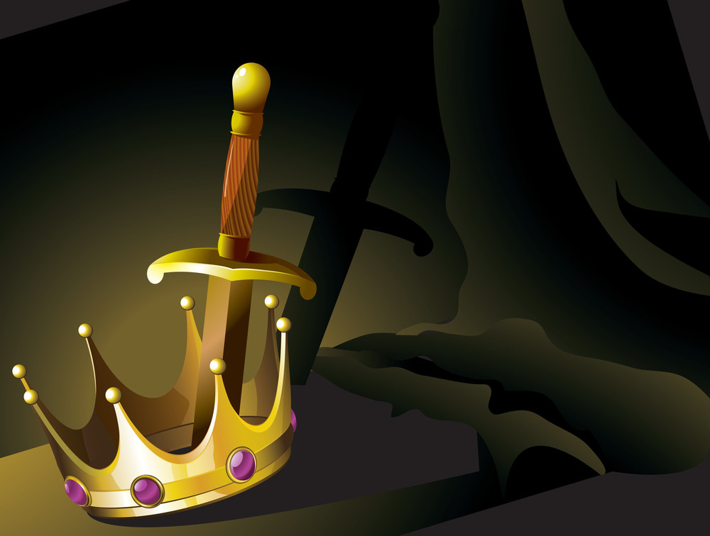 Crown And Sword. Vector.