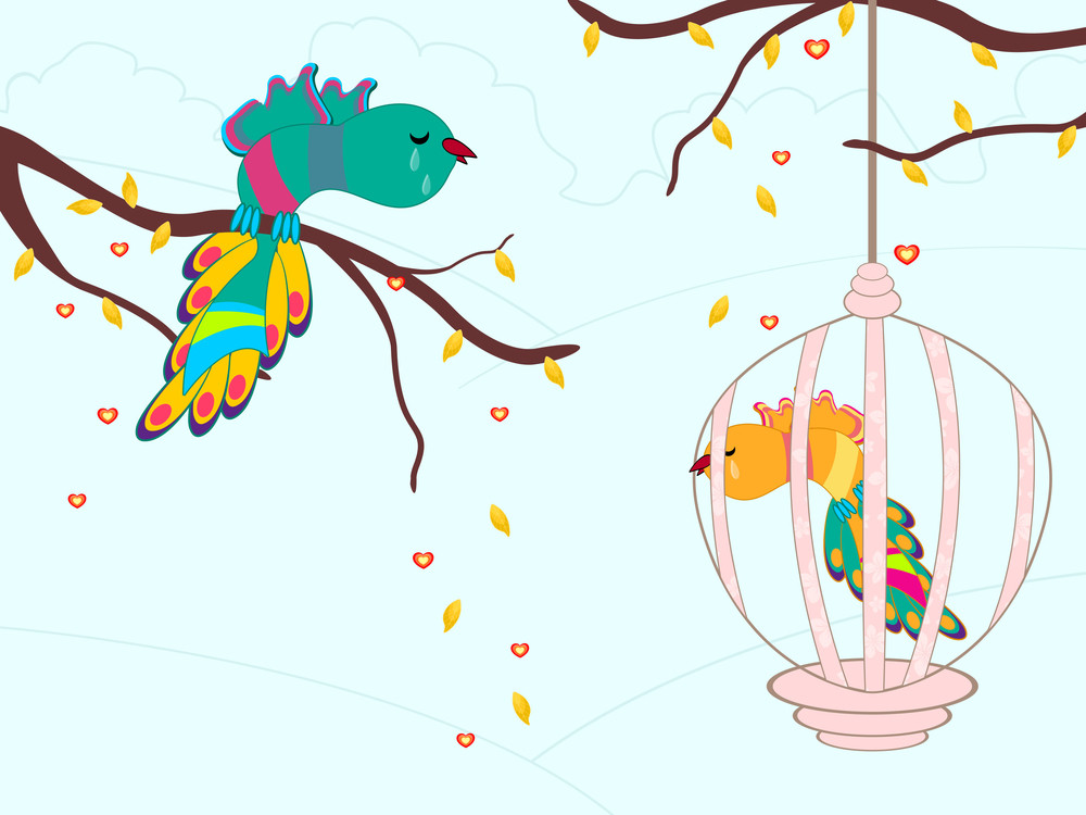 Crying Birds In A Cage. Vector Illustration.