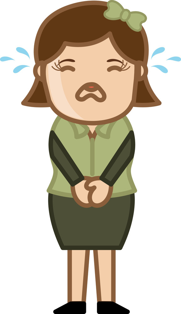 Cartoon Characters Crying : Crying female business cartoon character vector royalty