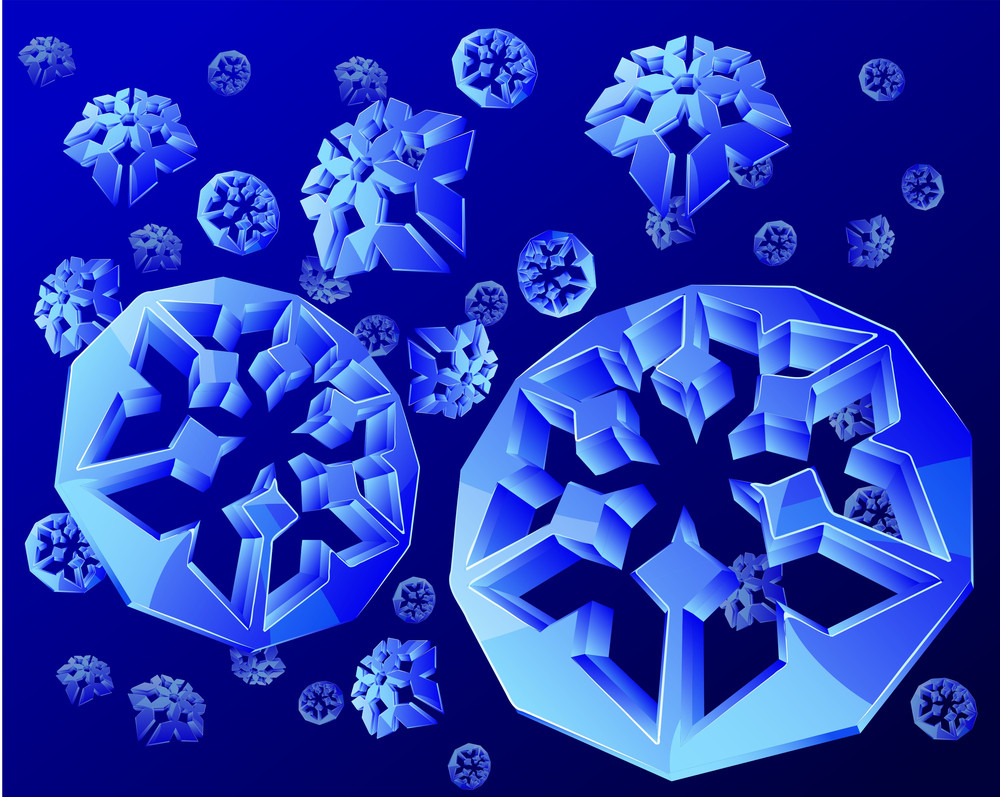 Crystal Snowflakes. Blue Background. Vector.