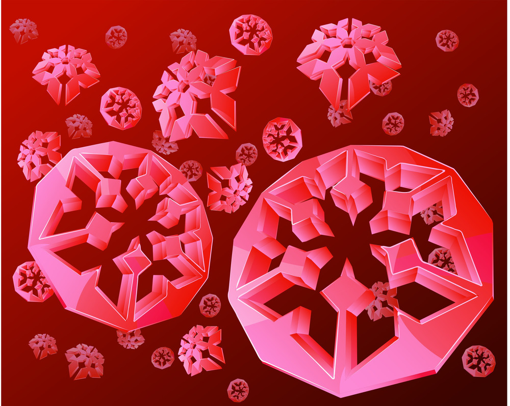 Crystal Snowflakes. Red Background. Vector.