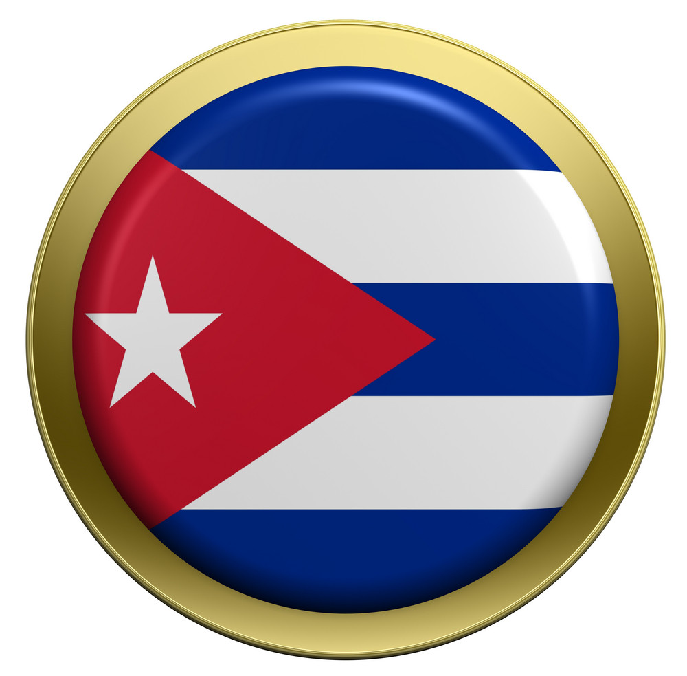 Cuba Flag On The Round Button Isolated On White.