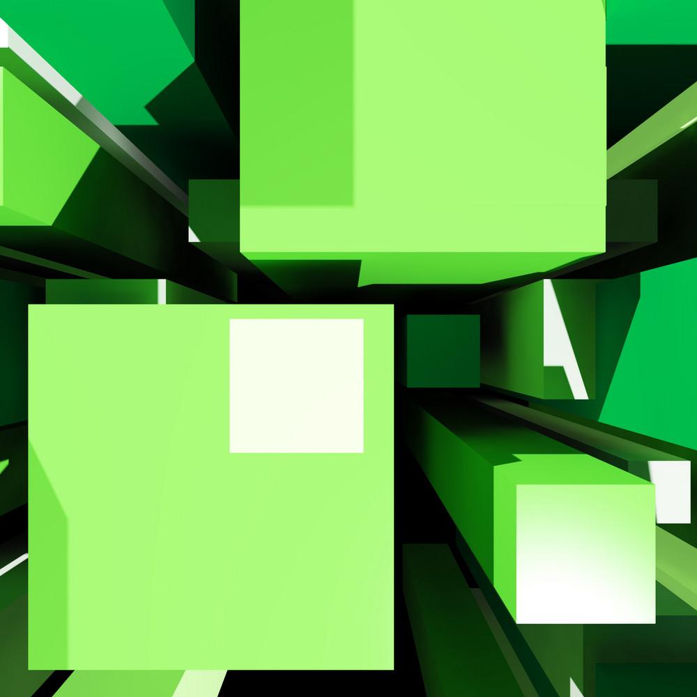 Cubes Background Shows Digital Art