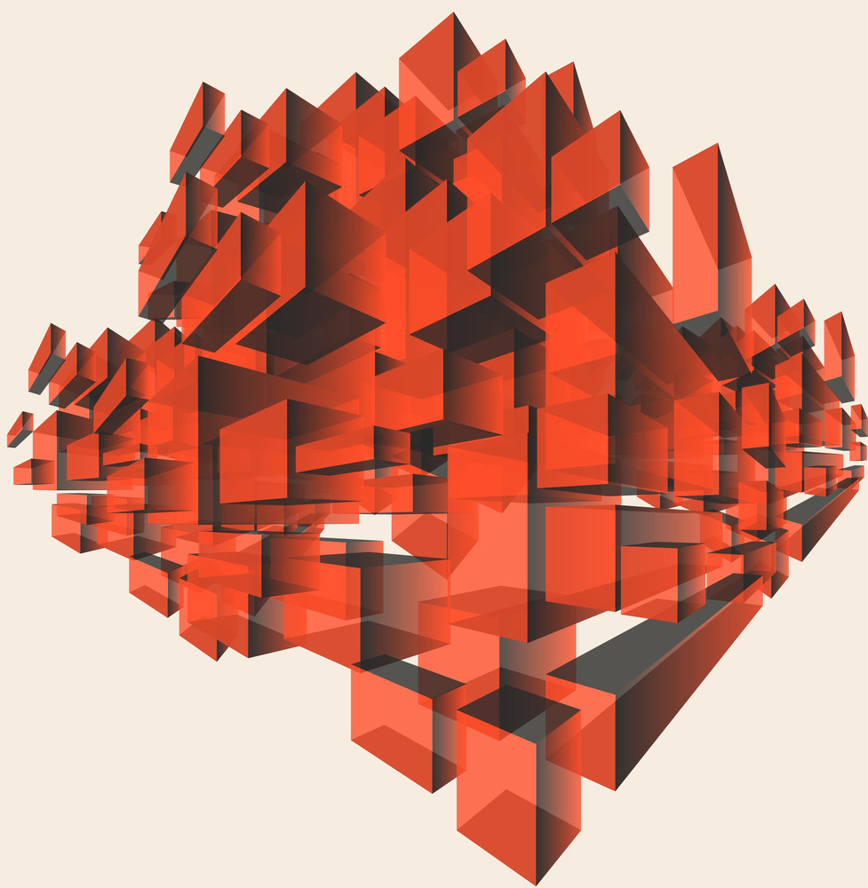Cubes. Vector Red