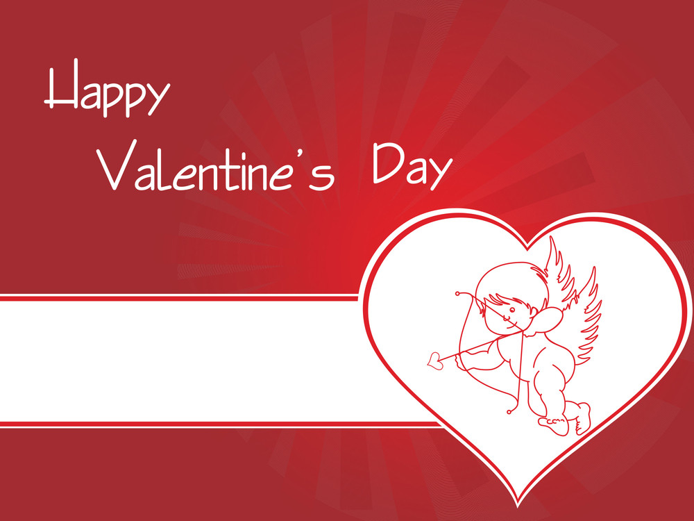Cupid In Heart With Background