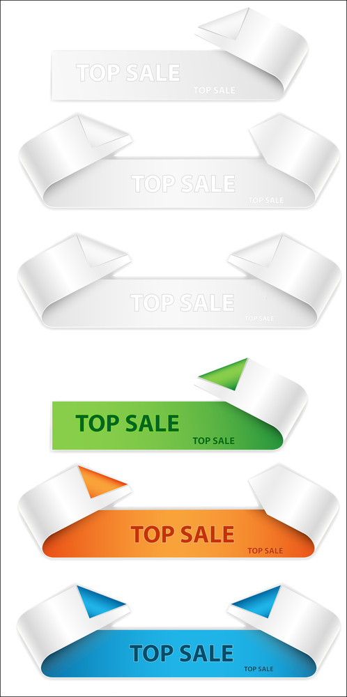 Curled Paper Banners Vectors