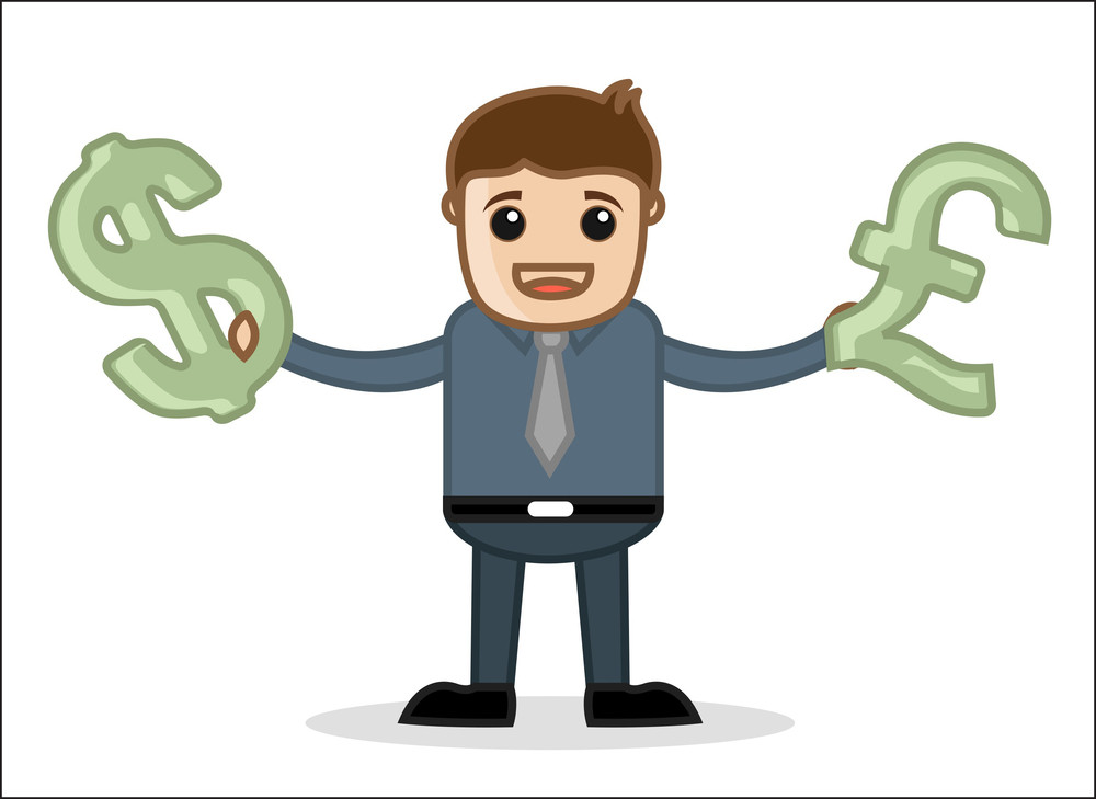 Currency - Office And Business People Cartoon Character Vector Illustration Concept