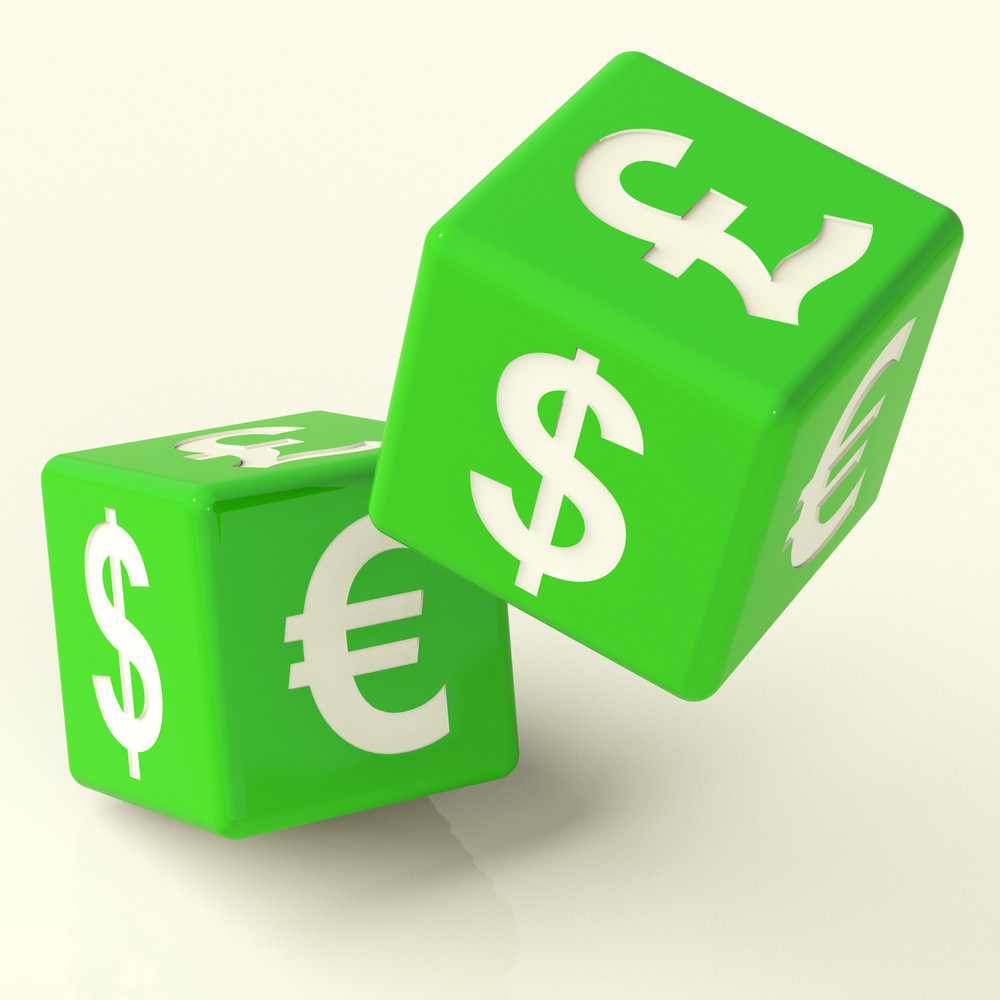 Currency Signs On Dice As A Symbol Of Foreign Exchange