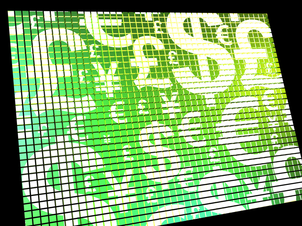 Currency Symbols On Compter Screen Showing Exchange Rate And Finance