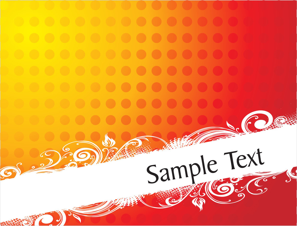Curve And Floral Elements For Sample Text In Gradient Red