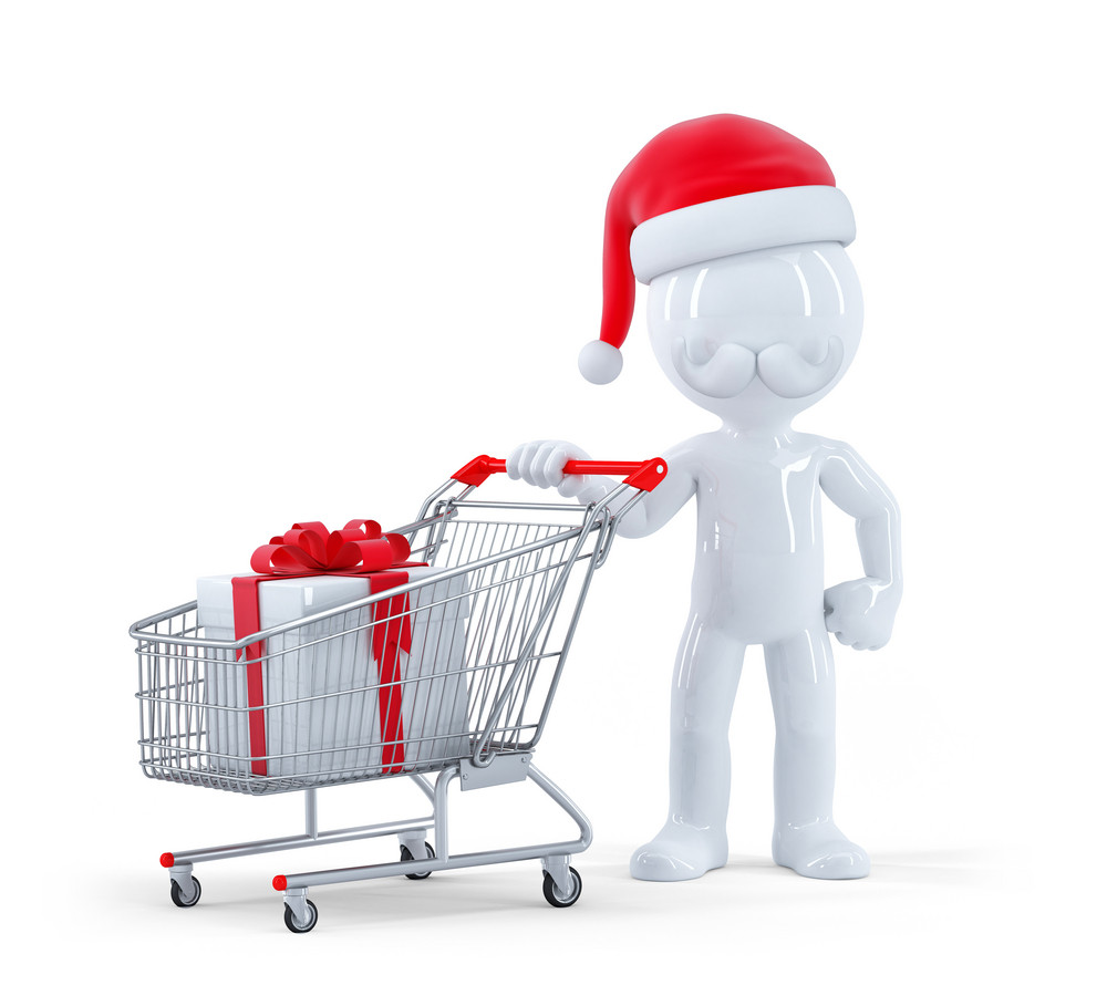 cute 3d santa with shopping cart and christmas gift royalty free