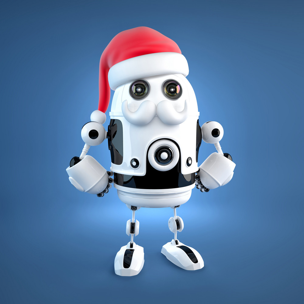 Cute Android Robot With Santa's Hat