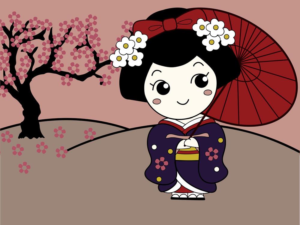 Cute Asian Girl Character