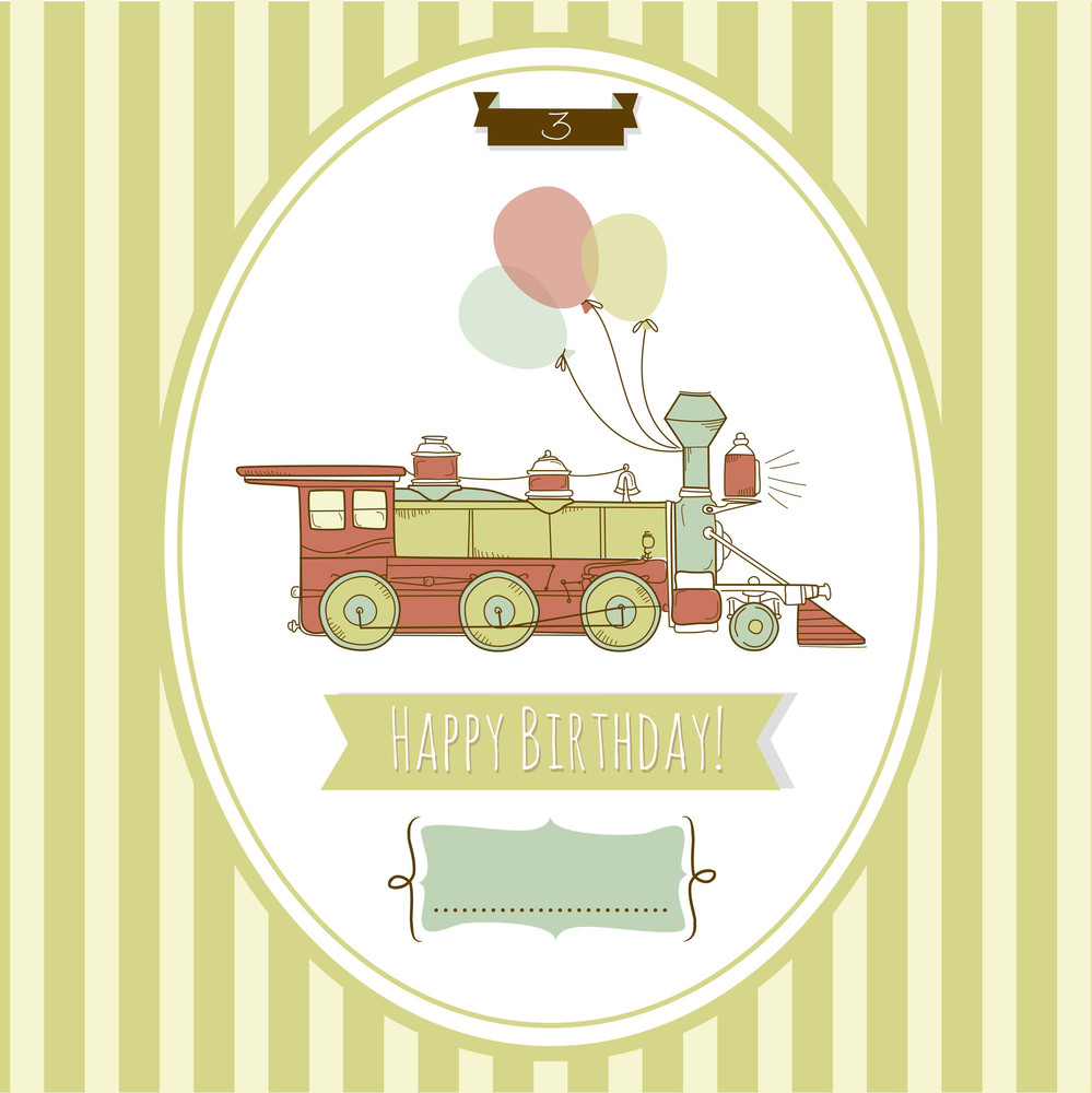 Cute Blue And Green Train Birthday Card