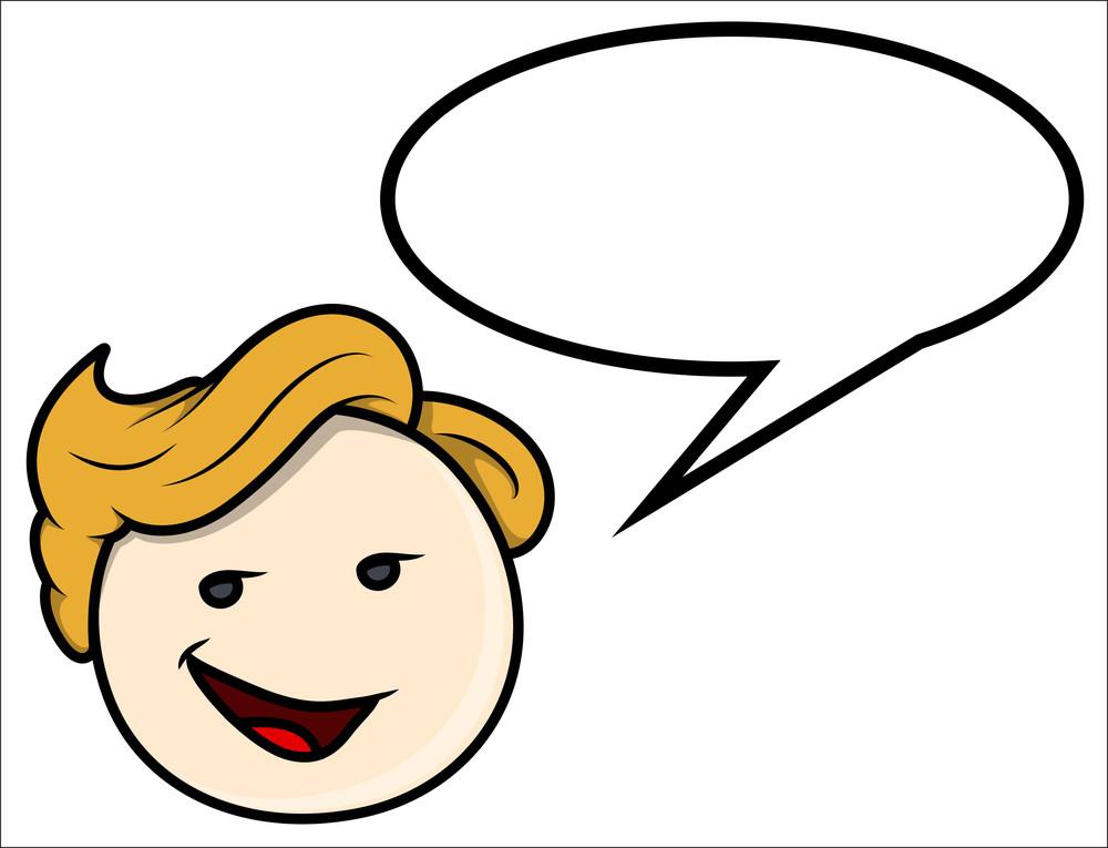 Cute Boy Communication - Vector Cartoon Illustration